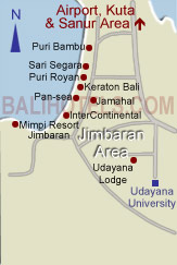 Bali Hotels .com - Location of hotels in Jimbaran