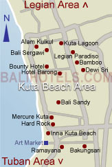 Bali Hotels .com - Location of hotels in Kuta