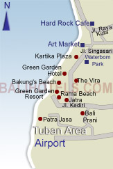 Bali Hotels - Location of hotels in Tuban